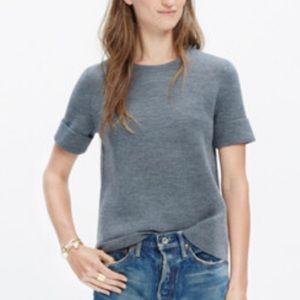 Madewell // Grey Short Sleeve Wool Blend Sweater